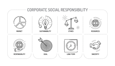 conscience: CORPORATE SOCIAL RESPONSIBILITY - Line icons Concept