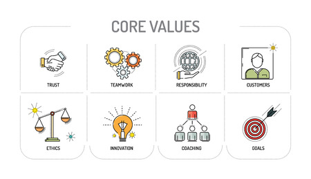 CORE VALUES - Line icon Concept Vettoriali