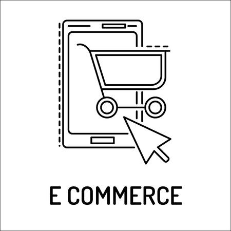 e commerce: E commerce Line Icon Illustration