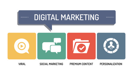 digital marketing: DIGITAL MARKETING - ICON SET Illustration