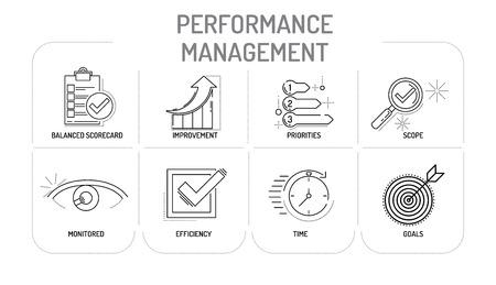 intervenes: PERFORMANCE MANAGEMENT - Line icons Concept Illustration