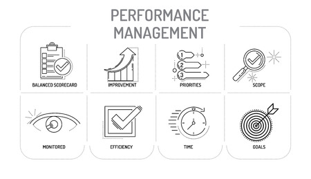 PERFORMANCE MANAGEMENT - Line icons Concept Illustration