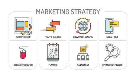 MARKETING STRATEGY - Line icons Concept