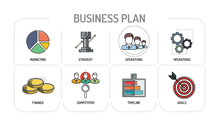 BUSINESS PLAN - Line icons Concept