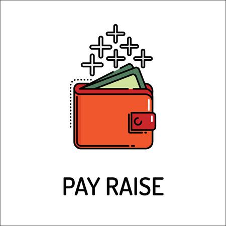 pay raise: PAY RAISE Line icon Illustration