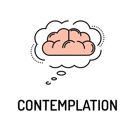 CONTEMPLATION Line icon Ilustração Vetorial