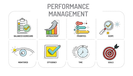 contributing: PERFORMANCE MANAGEMENT - Line icons Concept Illustration