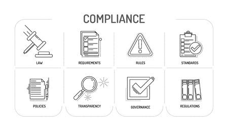COMPLIANCE - Line icon Concept  イラスト・ベクター素材