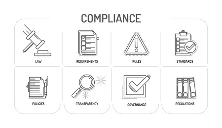 compliant: COMPLIANCE - Line icon Concept Illustration