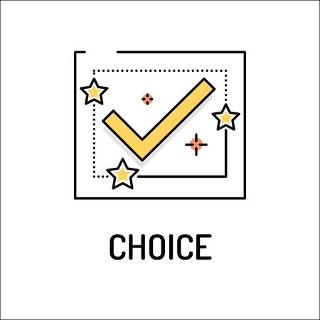 undecided: CHOICE Line icon Illustration
