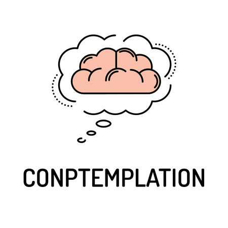 lost in space: CONTEMPLATION Line icon Illustration