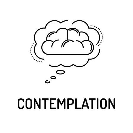 contemplation: CONTEMPLATION Line icon Illustration