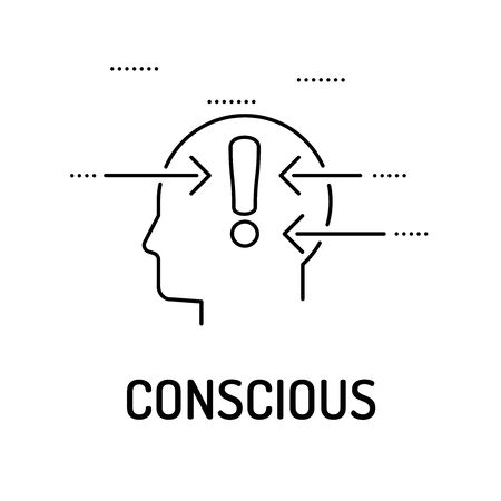 conscious: CONSCIOUS Line icon Illustration