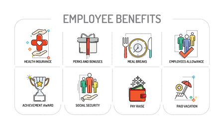 EMPLOYEE BENEFITS - Line icons Concept