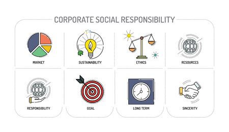 responsibility: CORPORATE SOCIAL RESPONSIBILITY - Line icons Concept