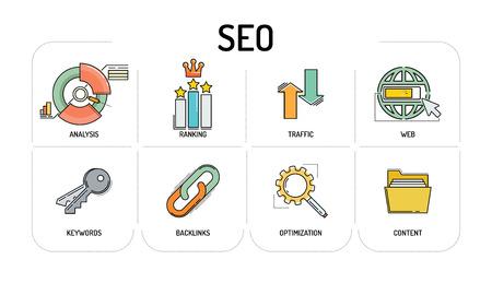 SEO - Line icons Concept Illustration
