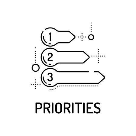 priorities: PRIORITIES Line icon Illustration