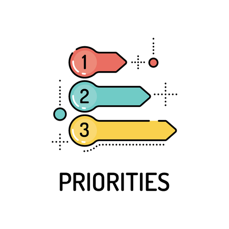 PRIORITIES Line icon Stock Illustratie