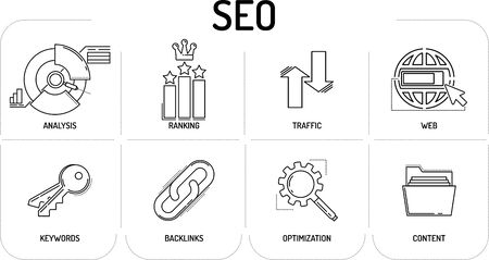 SEO - Line icons Concept Illustration