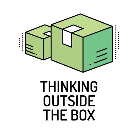 expressing artistic vision: THINKING OUTSIDE THE BOX Line icon