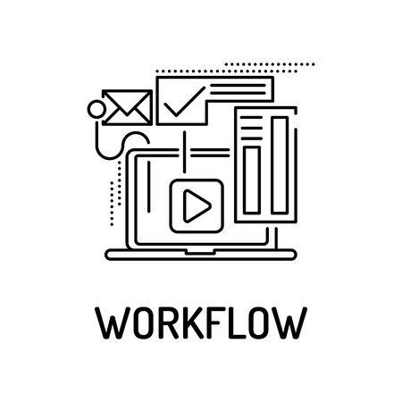 workflow: WORKFLOW Line icon Illustration