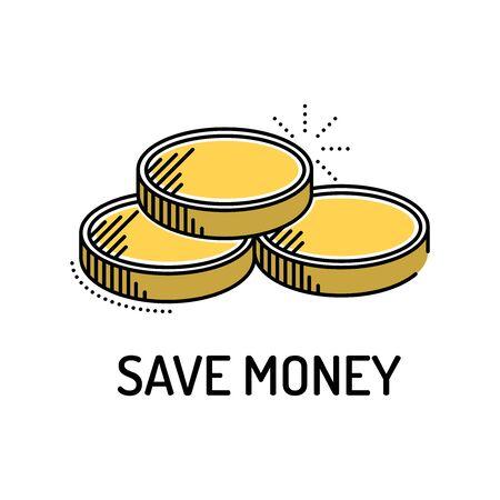 Save Money Line Icon Illustration