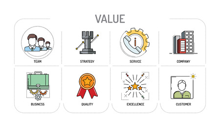core strategy: VALUE - Line icons Concept