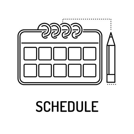 tournament chart: SCHEDULE Line icon Illustration