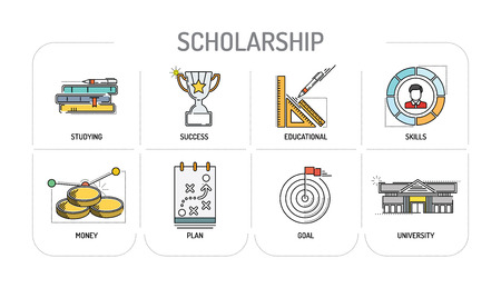 scholarship: SCHOLARSHIP - Line icons Concept