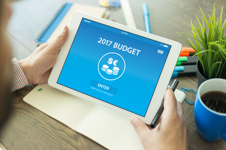 marginal: BUDGET 2017 CONCEPT ON SCREEN Stock Photo