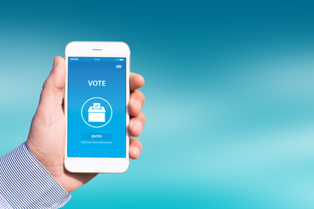 polling booth: VOTE CONCEPT ON SCREEN Stock Photo