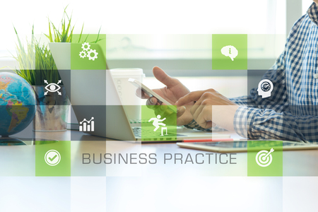 outcomes: Businessman working in office and Business Practice icons concept Stock Photo