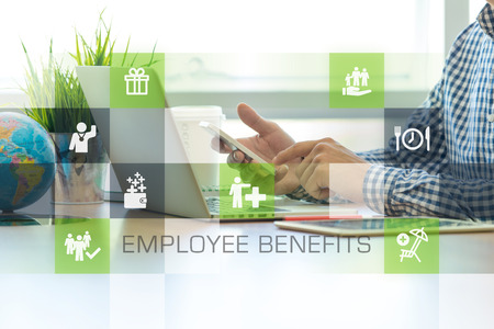 Businessman working in office and Employee Benefits icons concept Stockfoto