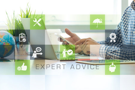 Businessman working in office and Expert Advice icons concept
