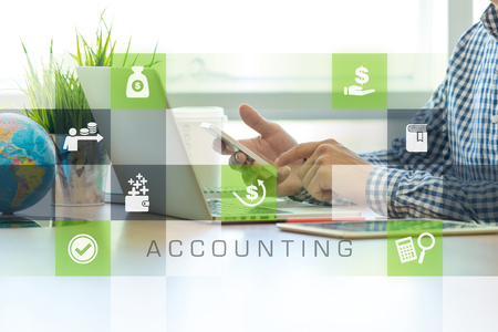 accounts payable: Businessman working in office and Accounting icons concept