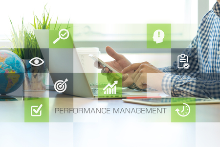 summarized: Businessman working in office and Performance Management icons concept
