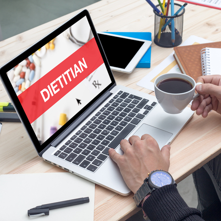 dietology: DIETITIAN CONCEPT ON LAPTOP SCREEN Stock Photo