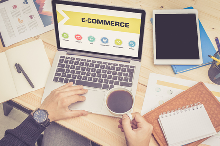 ecommerce icons: E-COMMERCE ICONS ON SCREEN Stock Photo