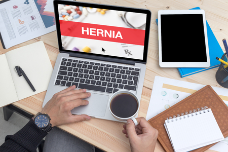 femoral: HERNIA CONCEPT ON LAPTOP SCREEN