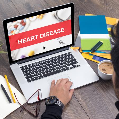 tachycardia: HEART DISEASE CONCEPT ON LAPTOP SCREEN