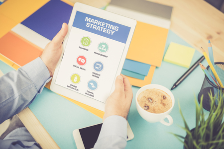 4p: MARKETING STRATEGY ICONS ON SCREEN Stock Photo