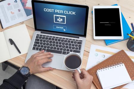 cpc: COST PER CLICK ICON CONCEPT ON SCREEN