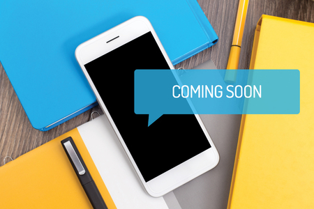 presently: COMING SOON CONCEPT Stock Photo