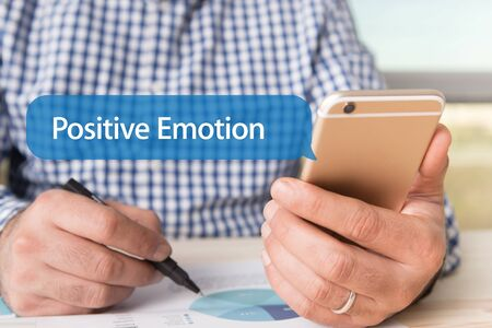 synonym: COMMUNICATION TECHNOLOGY CONCEPT: POSITIVE EMOTION WORD ON CHAT BUBBLE Stock Photo