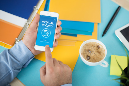 MEDICAL RECORD CONCEPT ON SCREEN Stock Photo