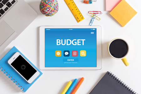 deficit target: BUDGET CONCEPT ON TABLET PC SCREEN