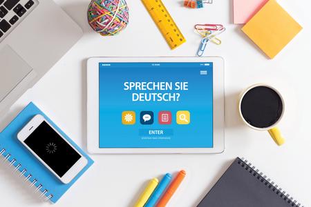 deutsch: SPRECHEN SIE DEUTSCH? CONCEPT ON TABLET PC SCREEN