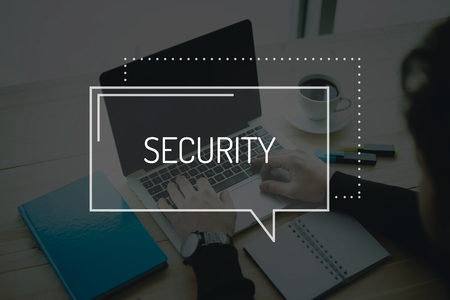 security technology: COMMUNICATION WORKING TECHNOLOGY  SECURITY CONCEPT Stock Photo
