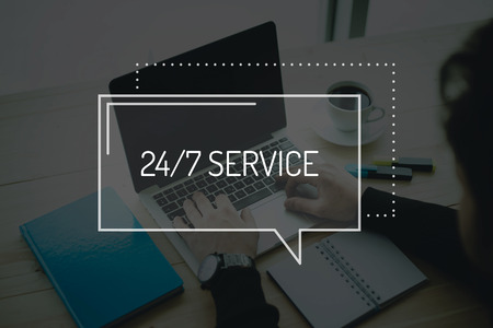 24x7: COMMUNICATION WORKING TECHNOLOGY BUSINESS SHOPPING 247 SERVICE CONCEPT Stock Photo