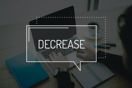decrease: COMMUNICATION WORKING TECHNOLOGY BUSINESS FINANCE DECREASE CONCEPT Stock Photo